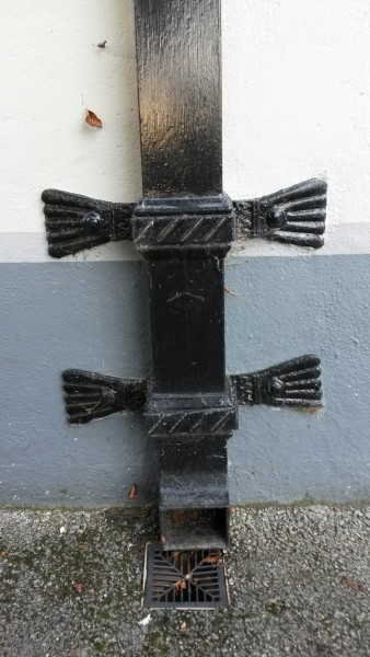 Ornate metal downpipe, St. Columba's church