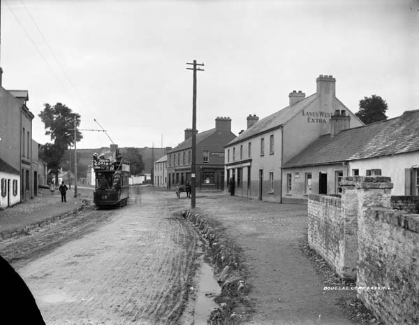 The tram arrives in Douglas village