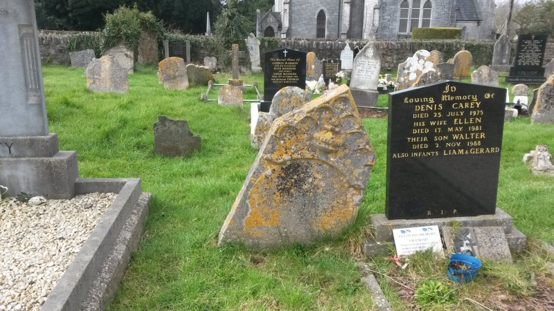 Ancient and modern headstones in Douglas cemetery